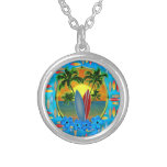 Sunset And Surfboards Personalized Necklace