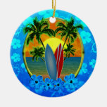 Sunset And Surfboards Round Ceramic Decoration