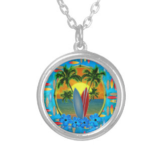 Sunset And Surfboards Silver Plated Necklace