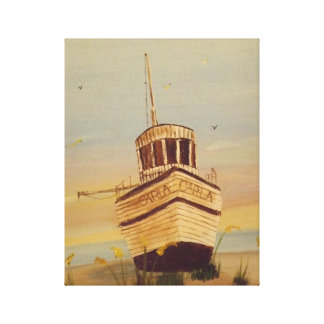 Sunset And The Ship Stretched Canvas Prints