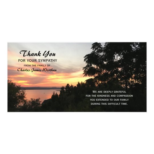 Sunset and Tree Sympathy Thank You Photo Card