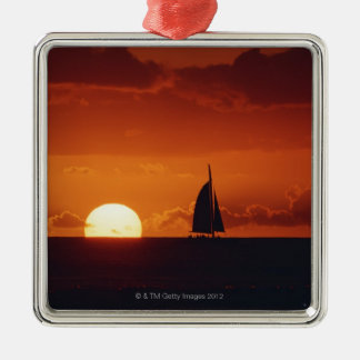 Sunset and Yacht 2 Christmas Ornament