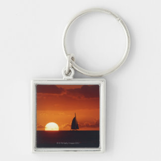 Sunset and Yacht 2 Key Ring