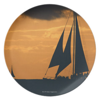 Sunset and Yacht 2 Plate