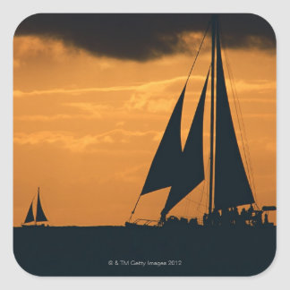 Sunset and Yacht 2 Square Sticker