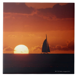 Sunset and Yacht 2 Tile