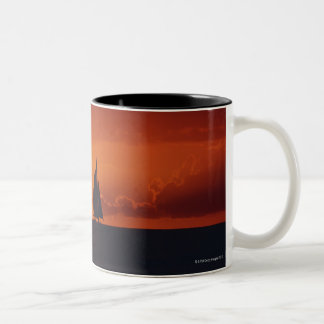 Sunset and Yacht 2 Two-Tone Coffee Mug