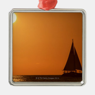 Sunset and Yacht Christmas Ornament