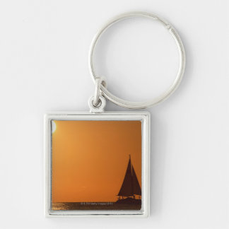 Sunset and Yacht Key Ring