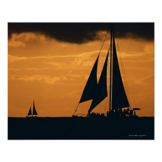 Sunset and Yacht Poster