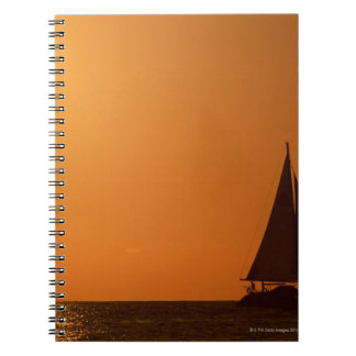 Sunset and Yacht Spiral Notebook
