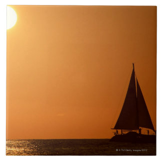 Sunset and Yacht Tile