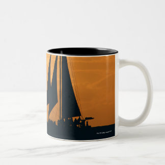 Sunset and Yacht Two-Tone Coffee Mug