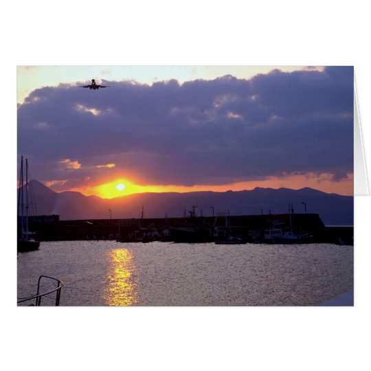 Sunset approach over Crete Harbour Card