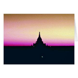 Sunset at Ananda Temple, Pagan Greeting Card