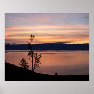 Sunset at Baikal Lake Poster