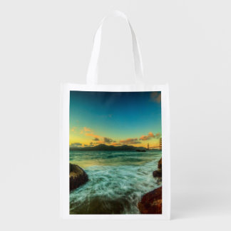 Sunset at Baker Beach Reusable Grocery Bag