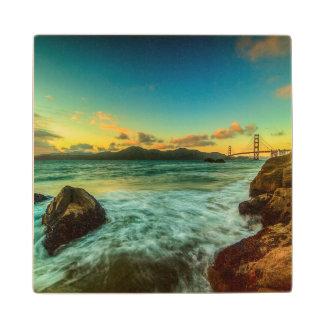 Sunset at Baker Beach Wood Coaster