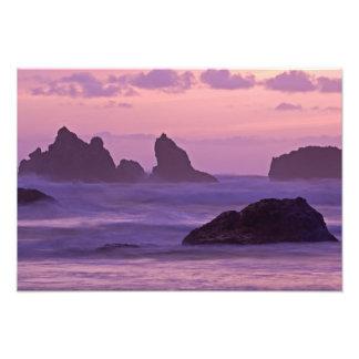 Sunset at Bandon Beach Sea Stacks. Photograph