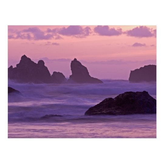 Sunset at Bandon Beach Sea Stacks. Postcard