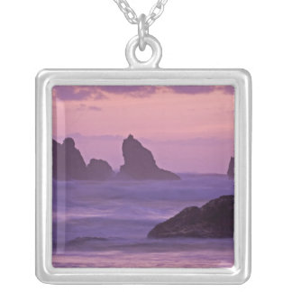 Sunset at Bandon Beach Sea Stacks. Silver Plated Necklace