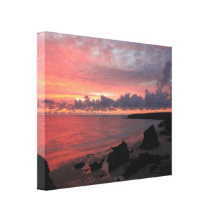 Sunset at Bedruthan Steps Canvas Print