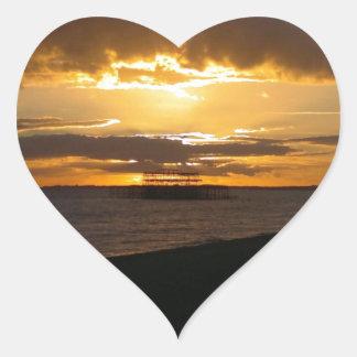 Sunset At Brighton Beach Heart Sticker