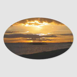Sunset At Brighton Beach Oval Sticker