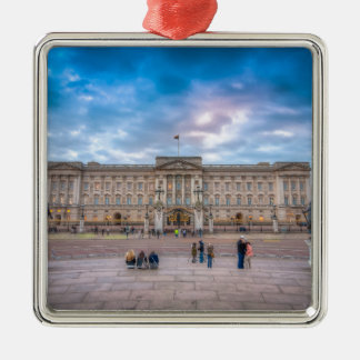 Sunset at Buckingham Palace, London Silver-Colored Square Decoration