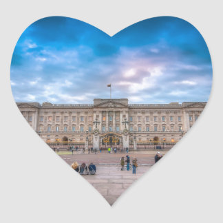 Sunset at Buckingham Palace, London Heart Sticker