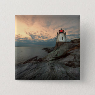 Sunset At Castle Hill Lighthouse 15 Cm Square Badge
