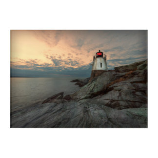 Sunset At Castle Hill Lighthouse Acrylic Print