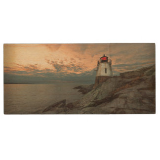 Sunset At Castle Hill Lighthouse Wood USB Flash Drive