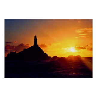 SUNSET AT CORBIERE LIGHTHOUSE POSTER