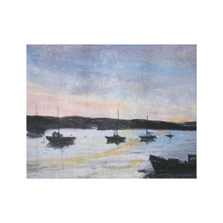 Sunset At Exe Estuary Canvas Print