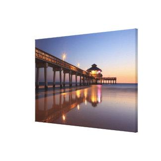 Sunset at Fishing Pier, Fort Myers Beach, Canvas Print
