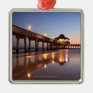 Sunset at Fishing Pier, Fort Myers Beach, Christmas Ornament