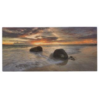 Sunset At Kedonganan Beach Wood USB 2.0 Flash Drive