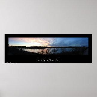Sunset at Lake Scott State Park Panorama Poster