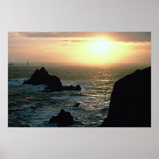 Sunset at Land's End at the Cornish Riviera Print