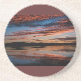 Sunset at Lower Klamath National Wildlife Refuge Drink Coasters