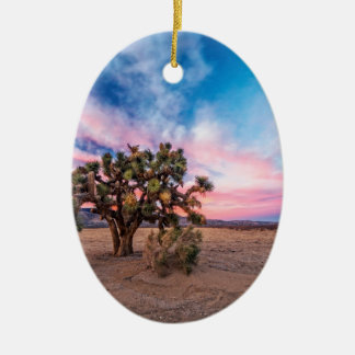 Sunset at Mojave Ceramic Oval Decoration