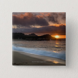 Sunset at Monastery Beach, Carmel, California, 15 Cm Square Badge