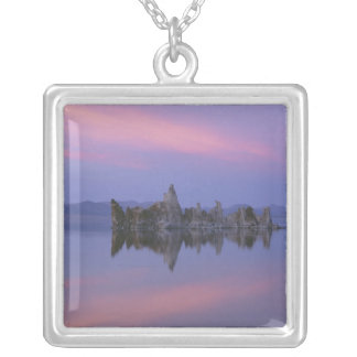 Sunset at Mono Lake, CA. Silver Plated Necklace