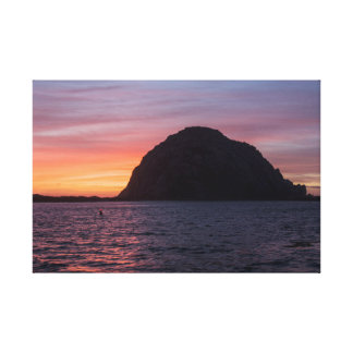 Sunset at Morro Rock wrapped canvas Gallery Wrap Canvas