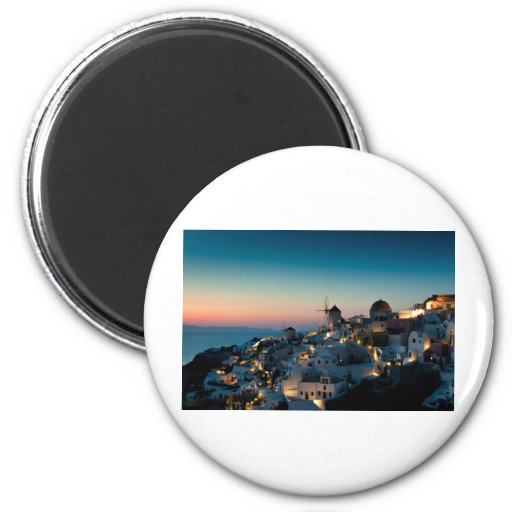 Sunset at Oia 6 Cm Round Magnet