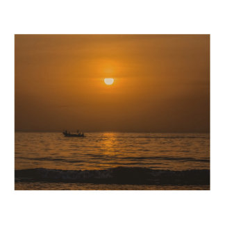 Sunset at Paradise Beach, The Gambia Postcard Wood Wall Art