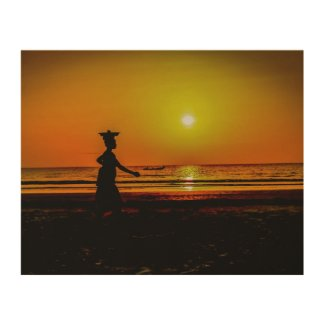 Sunset at Paradise Beach, The Gambia Wood Print