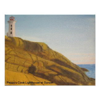 sunset at Peggy s Cove Lighthouse Posters