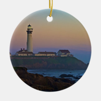 Sunset at Pigeon Point Lighthouse California Round Ceramic Decoration